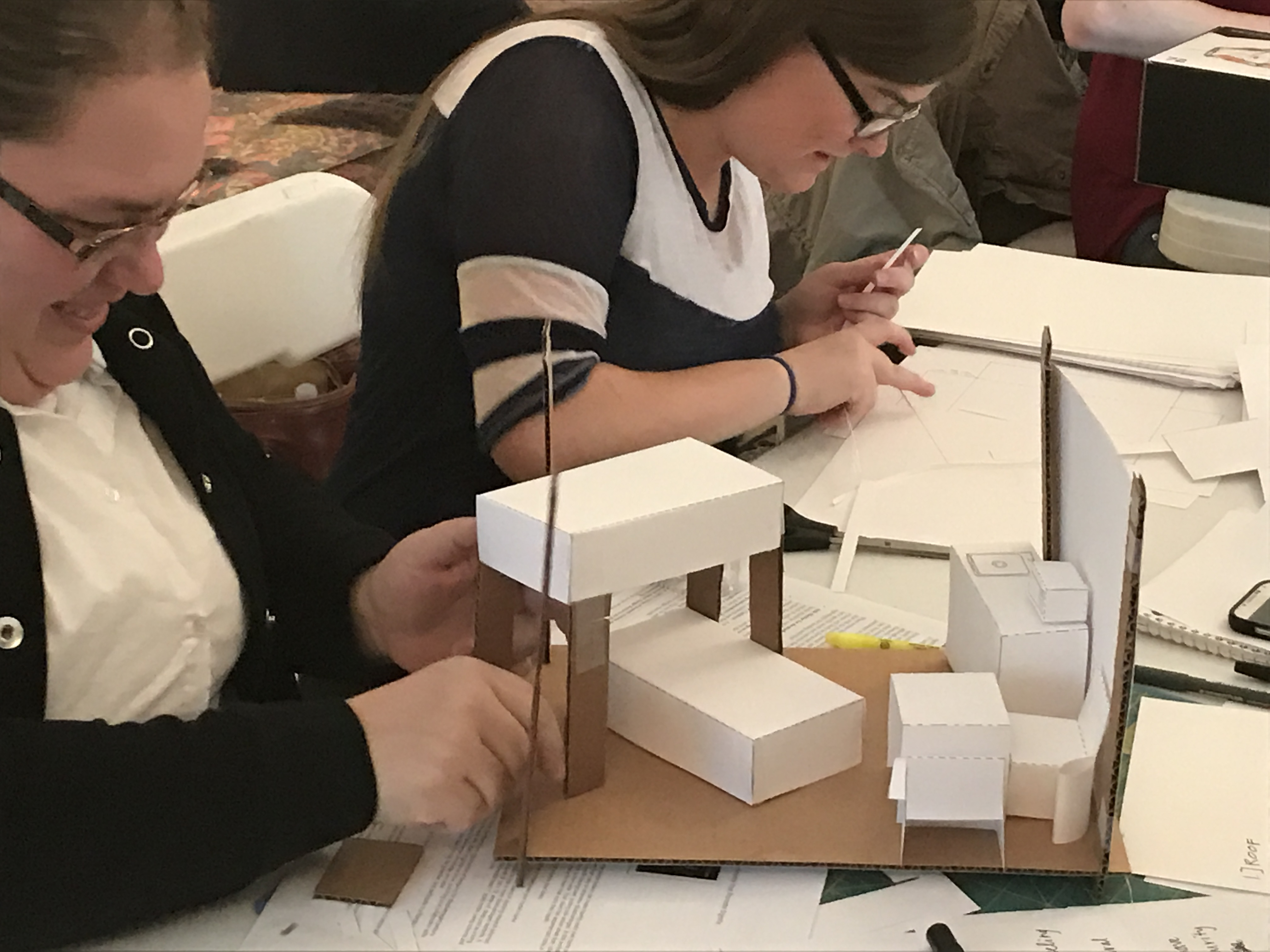 Interior design students constructed conceptual 3D models in the workshop.